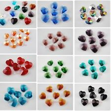 Lots Crystal Glass Heart Earring/Bracelet/Necklace Finding Pendant Beads 14mm