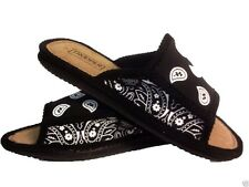 BLACK AND WHITE  BANDANA HOUSE SHOES SLIPPERS TROOPER BRAND NEW OPEN TOE