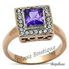 Women's Halo Princess Cut Amethyst CZ Rose Gold Plated Engagement Ring Size 5-10