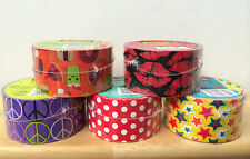 Scotch 3M Design Duct Tape Duck 1.88 x 10 Yards Peace Lips Stars Dots Neon Doll