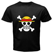 New ONE PIECE Pirates Flag Logo Luffy Anime Manga Men's Black T-Shirt Size S-3XL