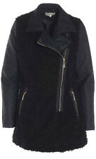 Womens Double Breasted Jacket Black Faux Wool Ladies Sizes UK 8-16
