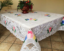 Vintage Tulip Embroidered Battenburg Lace w/Sheer Tablecloth Oblong White/Ivory