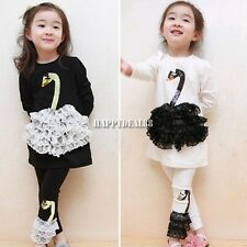cute Kids Girls Long Sleeve Shirts Top Lace Swan Print Leggings Suit Sets 2-10Y