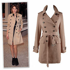 New mid length camel double breast trench coat