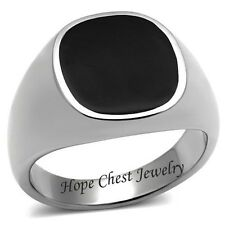 MEN'S SILVER STAINLESS STEEL FLAT TOP BLACK EPOXY FASHION RING SIZE 8 - 10