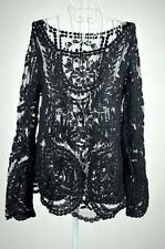 Women's Semi Sheer Sleeve Embroidery Floral Lace Crochet Tee Top Blouse--Black