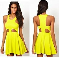 Oh My Love Textured Skater Dress with Cut Out Detail Yellow UK Sizes 10,14