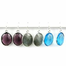 Bezel Gemstone Oval Shaped Pendant Earrings - Sterling Silver Hooks - All Stones