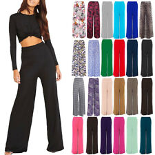 NEW LADIES PLUS SIZE PALAZZO TROUSERS WOMENS FLARED WIDE LEG PAINTS 8-16