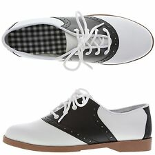 WOMENS SIZE 5 or 5-1/2 BLACK AND WHITE 50s STYLE CLASSIC SADDLE SHOES NEW IN BOX