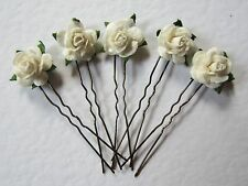 6 Ivory Rose Wedding Hair Slides / Pins, ANY COLOURS, Prom Party