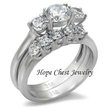 Stainless Steel Three Stone CZ Engagement & Wedding Rings - SIZE 5 - 10