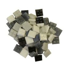 1cm x 1cm vitreous glass tiles for mosaics, art and craft - black/white/grey mix