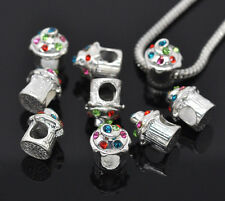 NEW Silver Plated Rhinestone Cupcake Charm Beads Fit Most European Bracelets