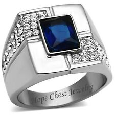 Stainless Steel Rectangular Blue Sapphire Cubic Zirconia Men's Ring - SIZE 8-13