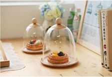 Clear Plastic Cake Pastry Dome Cover Wooden Plate SET Food Saver Wood Handle