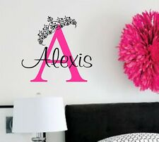Wall Decal-Personalized Princess Monogram and Name- Vinyl Wall Decal Girls