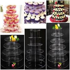3/5/7 Tier Clear Acrylic Round Cake Cupcake Stand Birthday Wedding Party Display