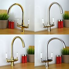 Traditional Victorian Classic Twin White Lever Kitchen Sink Mixer Tap COLOGNE