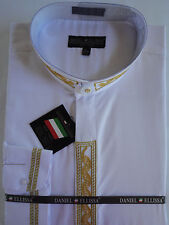 Mens Nehru Collarless Banded Collar White Gold Embroidery Dress Shirt DS3113C