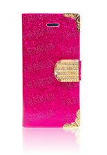 Glossy Bling Diamonds Flip Leather Wallet Case Cover for Apple iPhone 4 4S