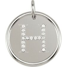 Posh Mommy Jewelry Initial H Roxy Pendant with Diamonds, Silver or 14K Gold