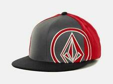 Volcom 951 Stone Mens 210 Fitted Flex Fit Gray Red Wool Blend Hat Cap New NWT