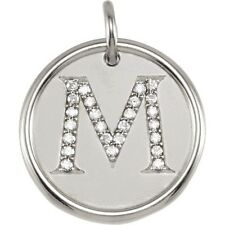 Posh Mommy Jewelry Initial M Roxy Pendant with Diamonds, Silver or 14K Gold