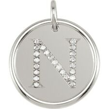Posh Mommy Jewelry Initial N Roxy Pendant with Diamonds, Silver or 14K Gold