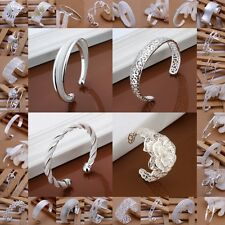 Hot!New Gift SALE Solid Silver Jewellery Lady/Mens 925Silver Bracelet/Bangle+Box