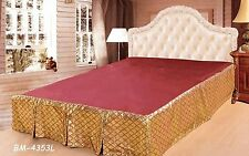 Gold Red Maroon Beige Abstract Geometric Chic Modern New Diamond Net Bed Skirt