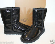 UGG Australia Classic Short Sparkles Black Sequence Boots Womens Sizes 7-10