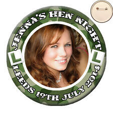 Personalised ARMY Theme Photo PIN BADGE Button Camouflage Hen Party Night - 58mm