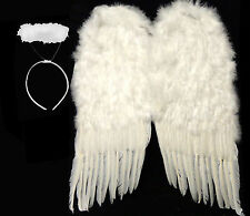 """Nice Large White Feather Wings + Halo Halloween Costume 36"""" or 24"""""""