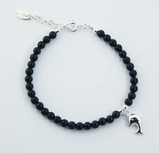 Gemstone Bead Bracelet with 925 Sterling Silver Dolphin Charm and Clasp