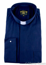 Mens Clergy Shirt Navy Blue, Tab Collar, Long Sleeve French Cuff, Pastor Priest