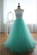 New Net Turquoise Floor Length Prom Dresses Lace Overlay A Line Formal Ball Gown