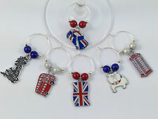 Colourful Great Britain / British Wine Glass Charms - 3 Gift Options - FREE PP