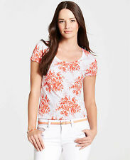 ANN TAYLOR - Misses' Delicate Floral Print Scoop Neck Short Sleeve Top $28.00