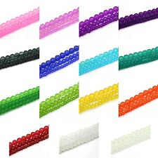 "Frosted Glass Round Beads, 32"" Strands, 4mm, 6mm, 8mm, Choose Color & Size"