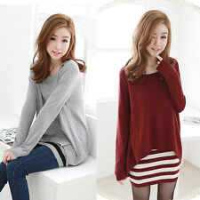 Korean Fashion Womens Striped 2pcs Vest Dress & Casual Tops Blouse T-shirt M/L