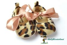 NWT Mothercare Baby Girls Leopard With Silk Bow Tie Shoes Prewalkers Size 3-18m