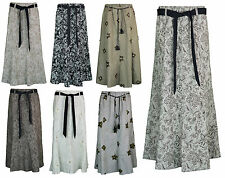 Womens Long Gypsy Maxi Skirts in Linen Designer Ladies Skirt sizes 10 to 24
