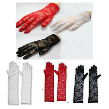 Elegant Ladies Short Lace/ Long Lace Gloves Costume in Black Red White