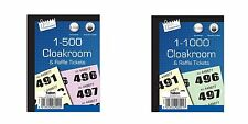 500 1000 Cloakroom Draw Raffle Tambola Numbered Tickets Book Fates School Office