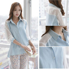 Korean Fashion Womens Loose Long Sleeve Chiffon Lapel Blouse Tops Career T-shirt