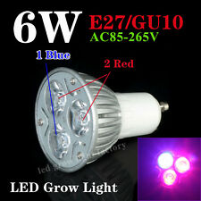 1/5/10pcs 3X2W 6W LED Plant Grow Light Lamp E27/GU10 Bulb 2Red 660nm+1Blue 445nm