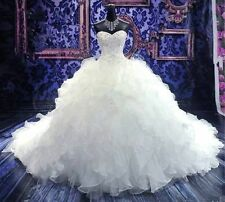 Princess Beaded White/Ivory Wedding Bridal Dress Pageant Gown Custom size 6- 20