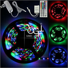 5M 3528 SMD RGB Waterproof Strip Light 300 LEDs 24/44 Key IR Remote 12V 2A Power